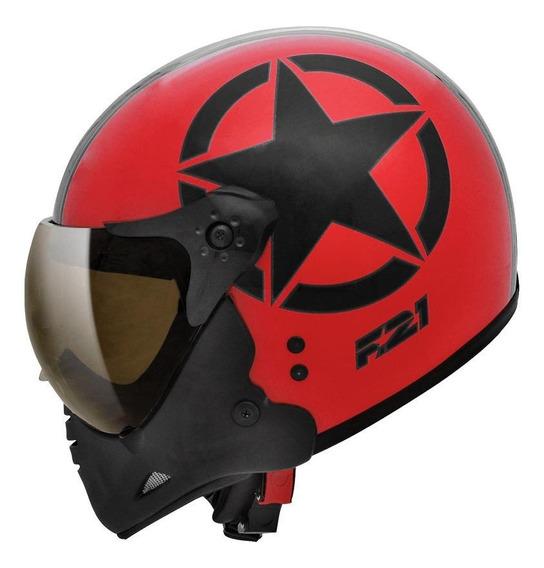 Capacete para moto escamoteável Peels F-21 Army vermelho/preto tamanho 60