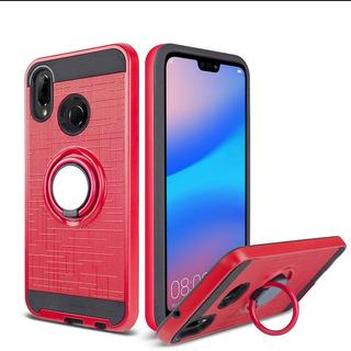 Funda + Vidrio Huawei P20 Lite Rojo Anillo, Apoyo, Para Imán