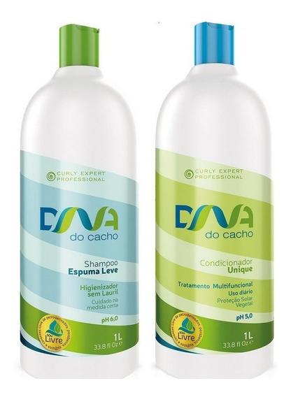 Kit - Shampoo Espuma Leve E Condicionador 1 L - Dna Do Cacho