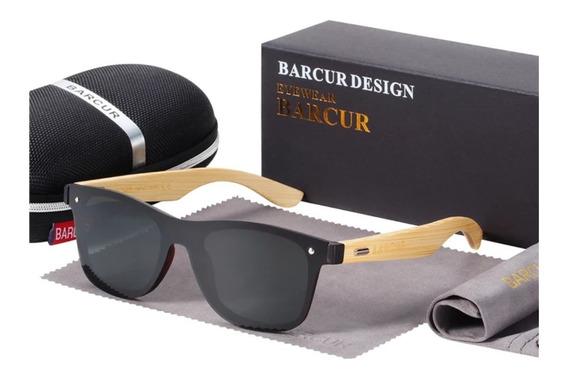 Óculos De Sol Bambu Barcur Original Polarizado Uv400 Preto