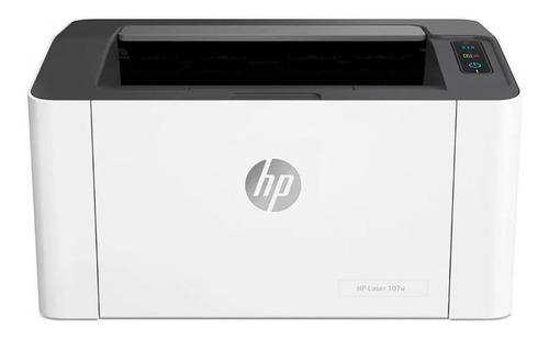 Imagen 1 de 3 de Impresora  simple función HP Laser 107w con wifi blanca y negra 110V - 127V