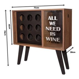 Adega Retrô 71 X 70 X 28cm - Para 09 Vinhos E Porta Rolhas