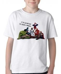 Camiseta Infantil Blusa Criança Jesus Deus Super Heroi Marve