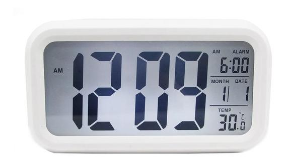 Reloj Digital Alarma Numeros Grandes Fechador Luz Led Blanco
