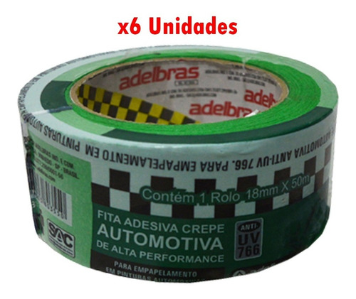 Cinta Papel Automotriz Anti Uv 18mmx50m X 6 Unidades G P