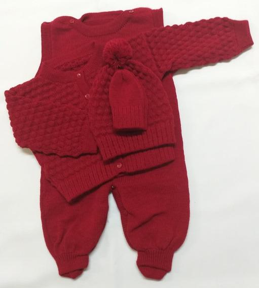 Conjunto Rn Com Salopete,casaco,touca E Luva Vermelho
