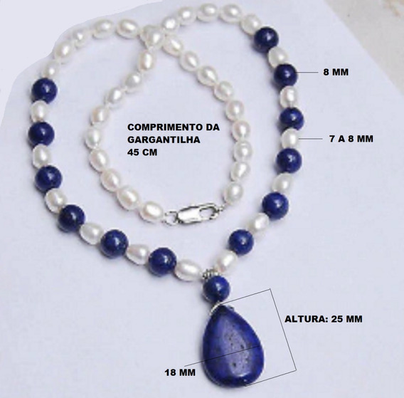 Colar E Pingente Lápis Azul Pérolas Brancas De 7-8 Mm, 45 Cp