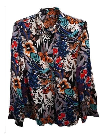 Camisa Mujer Camisola Floreada Talles Playa Verano