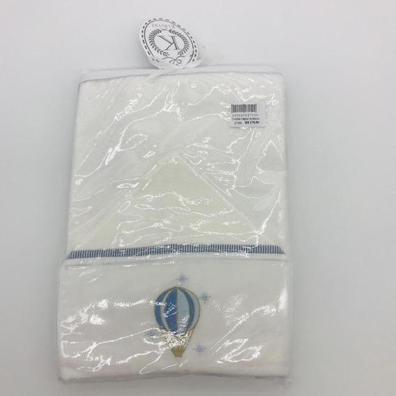 Toalha Capuz Aveludada Balão Azul - Kidstar Ref 10061