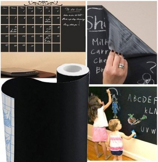 Adesivo Lousa Quadro Negro Preto Fosco 5m X 45cm + Giz