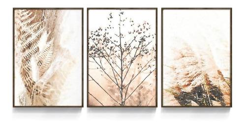 Quadro Decorativo Abstrato Folhas Sépia Secas Sala Quarto