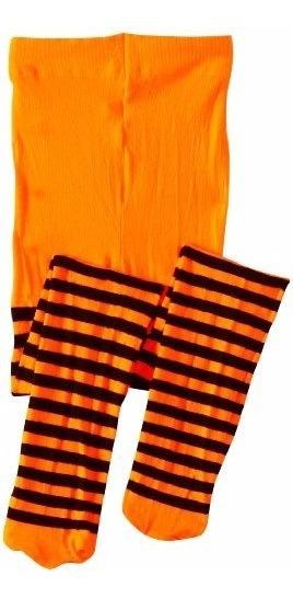 Mallas Delgadas Nylon Rayada Naranja Con Negro Niña Tallas