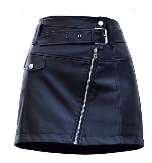 Mini Falda De Cuero Sintético Pu Oficina Y Casual Talla S