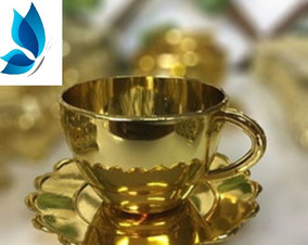 Alice Xicara De Chá Dourada Com 50 Unidades