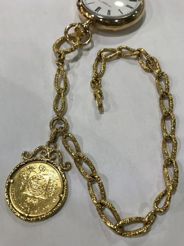 Corrente Pingente Moeda Ouro Impperio Ouro 22k, Peso: 97gr.