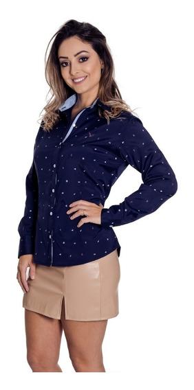 Camisa Social Feminina Navy - Pimenta Rosada