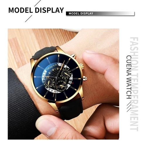 Reloj Genova Ilusion Of Time Cuero Hombre Envio Gratis Negro