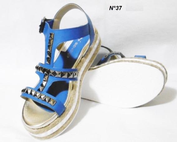 Sandalia Savage 37 Azul Con Tachas Y Yute Base Expanso