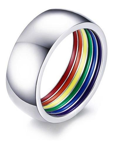 Imagen 1 de 3 de Anillo Gay Pride Arcoiris Muy Discreto (envío Gratis)