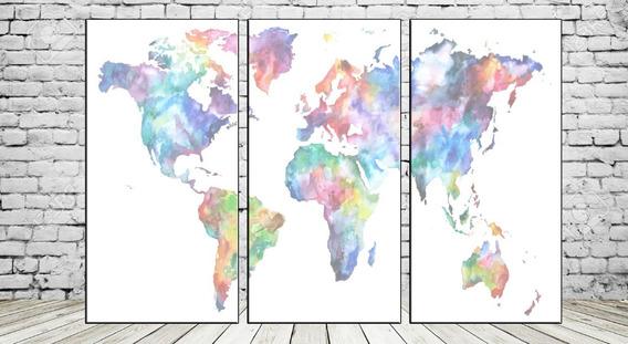Cuadros Modernos Mapamundi Mapa Planisferio 90x57 Cm M09