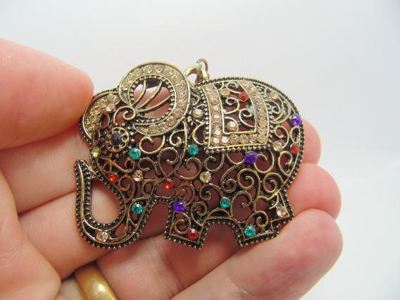 Colar Em Metal Vintage Gargantilha Pingente Elefante Dourado