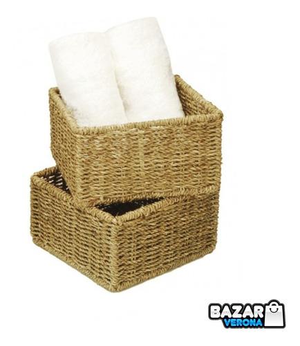 Imagen 1 de 3 de Caja Cubo Baño Cocina Living Organizador Seagrass 19 X 9 Cm