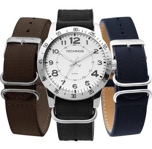 Relógio Technos Masculino Militar Troca Pulseiras 2035lwa/0b