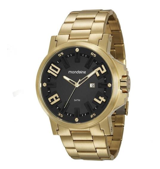 Relógio Masculino Mondaine 99233gpmvds1 Dourado Fundo Preto