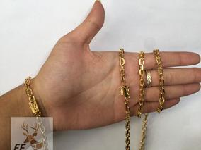 Cordao Masculino 60cm 5mm Com Pulseira Banhados A Ouro 18k
