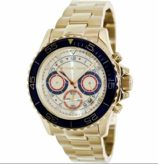 Relógio Michael Kors Mk5792 Dourado Azul Gold-blue Original