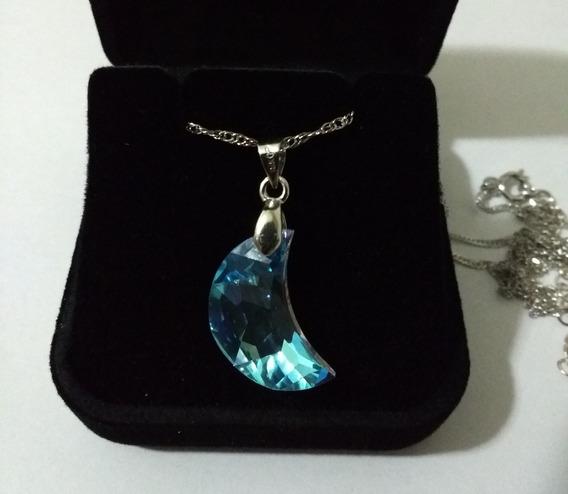 Colar Lua Cristal Swarovski Blue Boreal