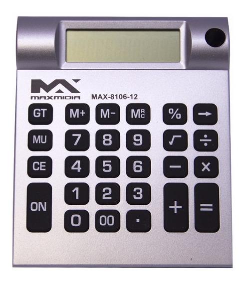 Calculadora Eletrônica Max Midia De Mesa Prata 12 Digitos