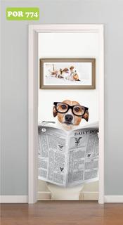 Adesivo De Porta Banheiro Cachorro Lendo Jornal P774