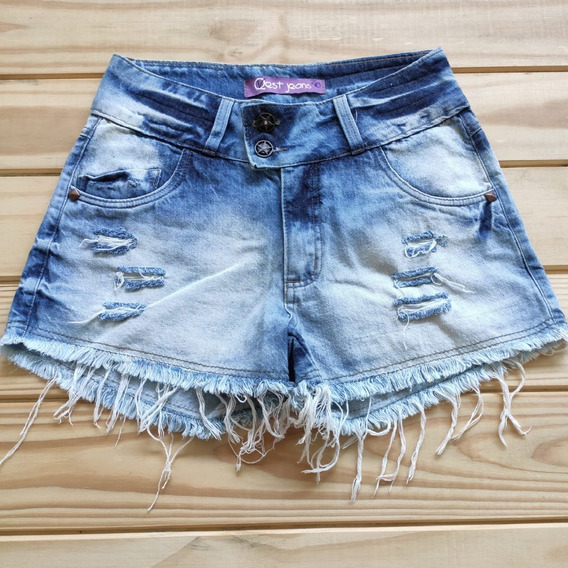 Lindo Shorts Jeans Feminino Top Verão Desfiado Blogueiras