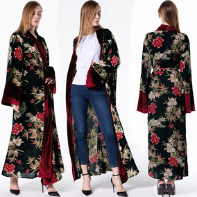 Women Loose Muslim Robe Long Sleeves Floral Print Open Front
