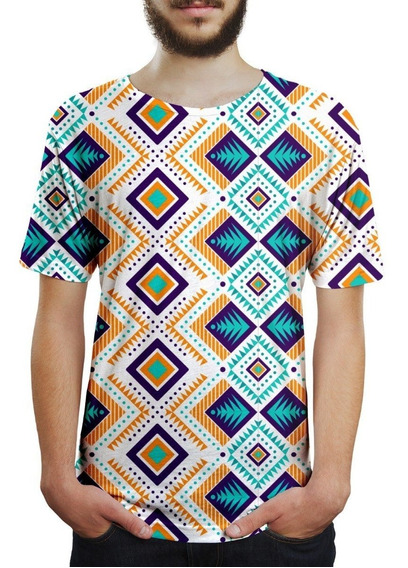 Camiseta Masculina Tribal Asteca Estampa Digital