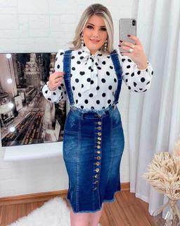 Salopete Jeans Mid Evangélica Botões Destroyed Moda Feminina