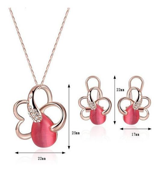 Conjunto De Jóias De Flores - Ouro Rosa