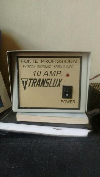 Fonte Profissional Translux 10a Entrada:110/220v Saída:13.8v