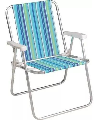 Cadeira Praia Aluminio + Guarda-sol 1,80cm Aço + Saca Areia