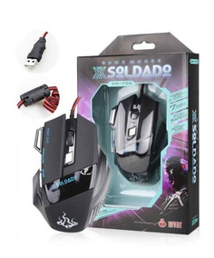 Mouse Gamer Usb 3000dpi 6 Botões X-soldado Gm-700 Led 7cores