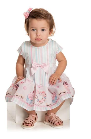 Vestido Bebê Verão Floral, Acompanha Calcinha