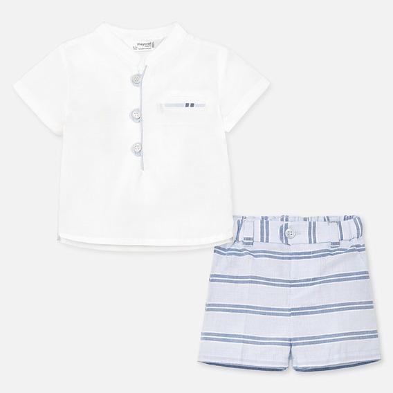 Conjunto Camisa Y Pantalón Corto A Rayas Bebé Niño