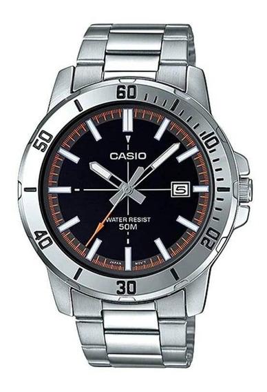 Relógio Masculino Casio Prata Com Data Fundo Preto Original
