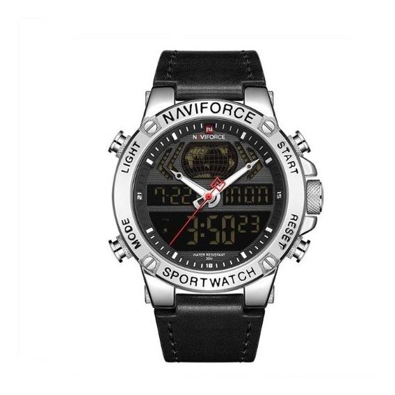Relógio Masculino Naviforce Militar Couro Modelo 9164
