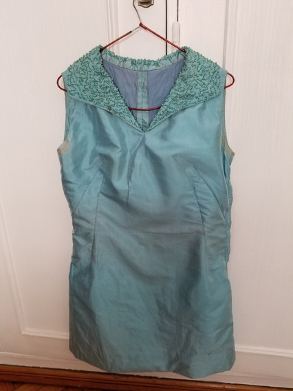 Vestido De Fiesta, De Pura Seda Natural, Color Turquesa