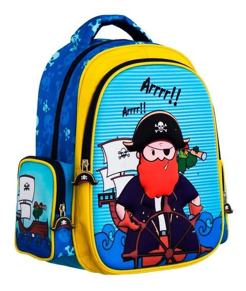 Mochila Infantil Pirata Em Alto Relevo Convoy Kids Escolar