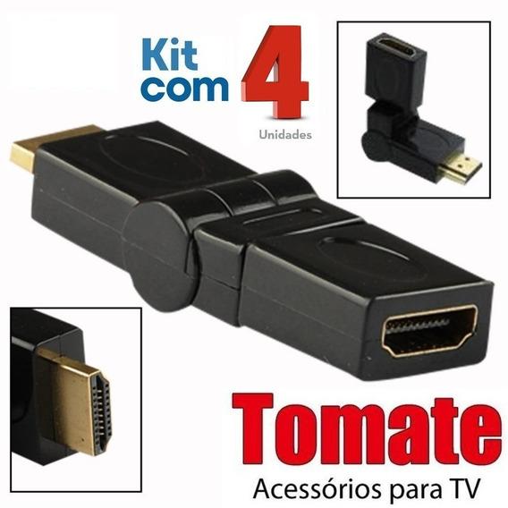 Adaptador Hdmi 360º Emenda Articulável / Tomate / 4 Unidades