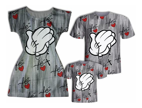 Camisas Pai E Filho + Vestido Mãe - Fé
