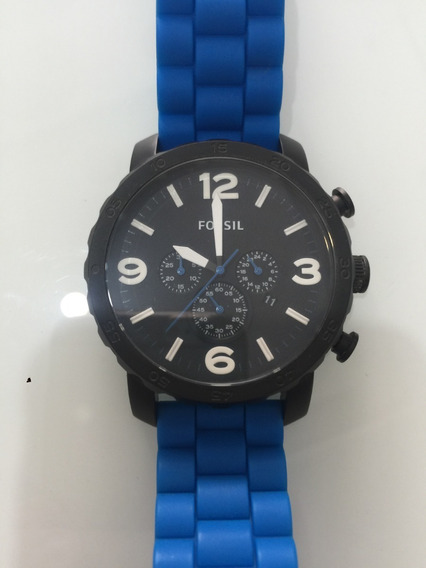 Relógio Fossil Masculino Jr1426 Preto Pulseira Azul Original
